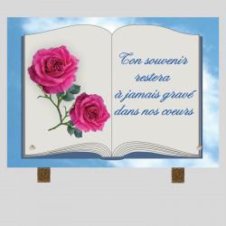 Plaque funéraire Nuage -Rose sur livre - sur pied métal
