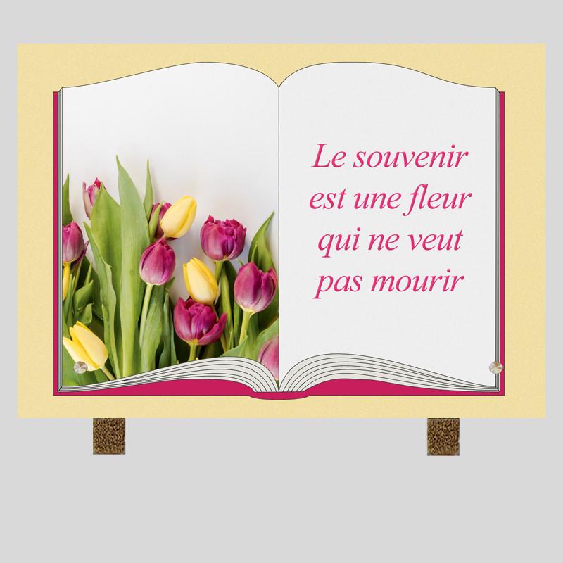 Plaque funéraire Rectangle - Tulipes - sur pieds métal