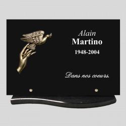 Plaque funéraire - rectangle granit 30x20cm - décor bronze - main et colombe