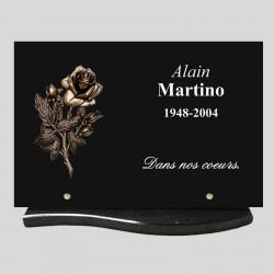 Plaque funéraire - rectangle granit 30x20cm - décor bronze - rose