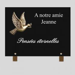 Plaque funéraire personnalisable - colombe en bronze