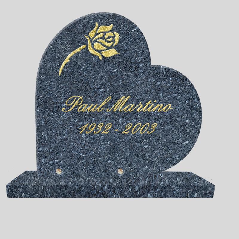 Coeur funéraire granit sur socle - motif rose