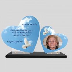 Plaque funéraire personnalisée double coeur avec photo ciel colombe