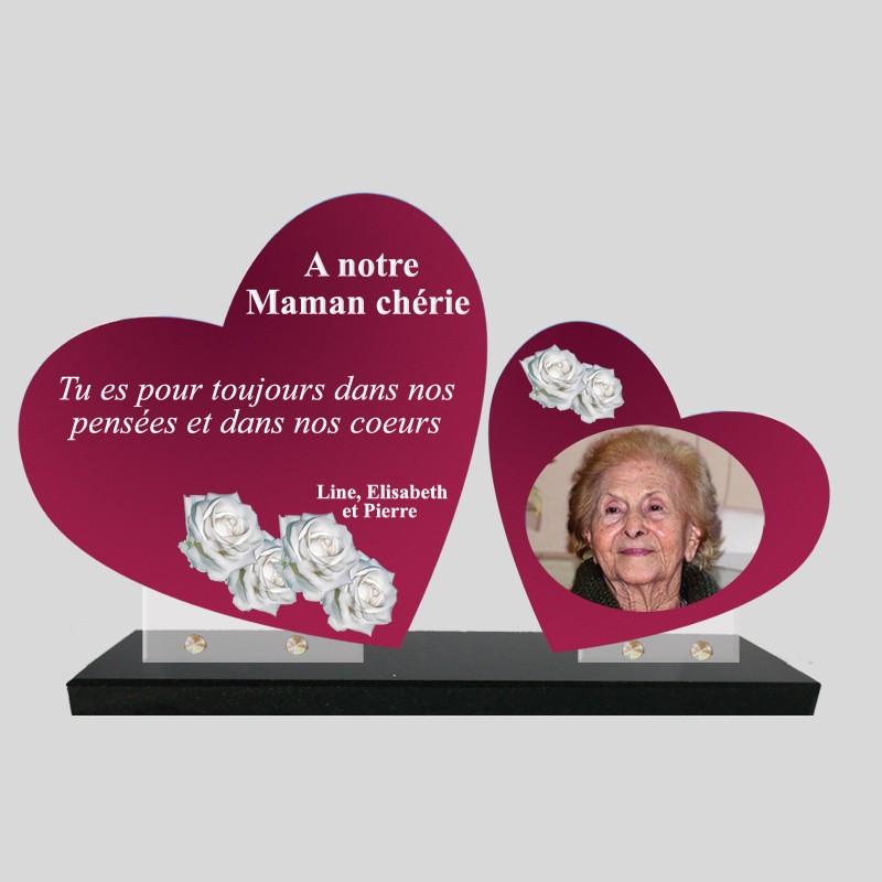 Plaque funéraire personnalisée double coeur avec photo roses blanches