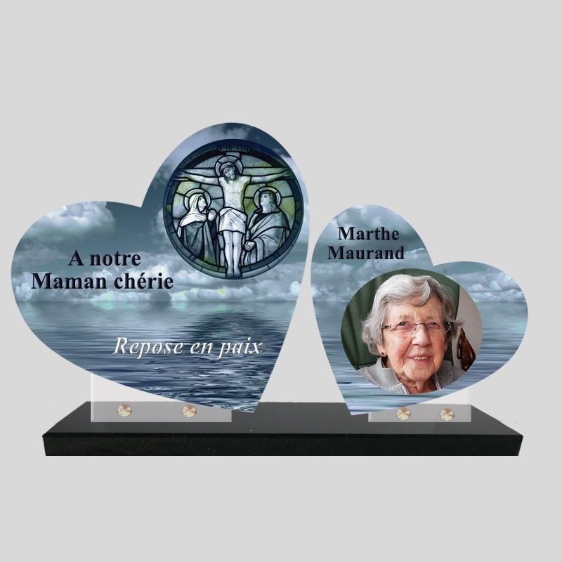 Plaque funéraire personnalisée double coeur avec photo image christ