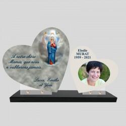 Plaque funéraire personnalisée double coeur avec photo image de la Vierge
