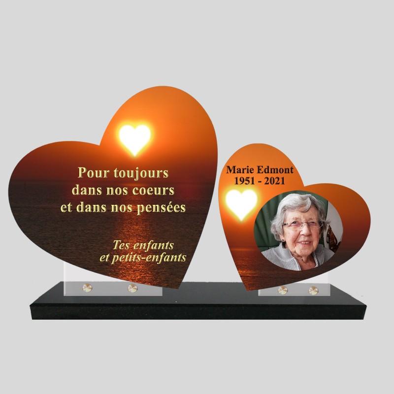 Plaque funéraire personnalisée double coeur avec photo coeur sur la mer
