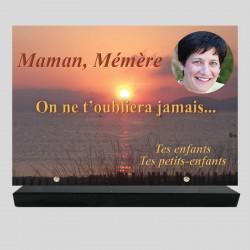 Plaque funéraire Rectangle personnalisée - Coucher de soleil sur la mer - sur socle en granit