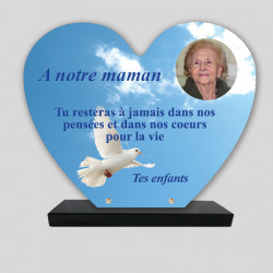 Plaque funéraire Cœur personnalisée - Colombe dans le ciel - sur socle en granit