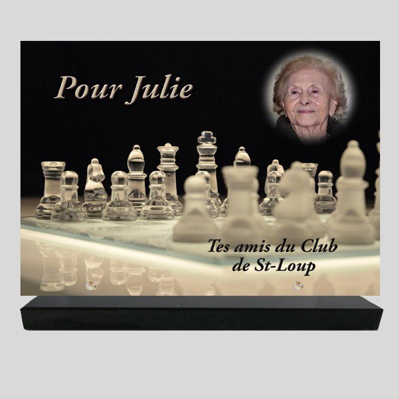 Plaque funéraire Rectangle personnalisée - Jeux d'échecs - sur socle en granit