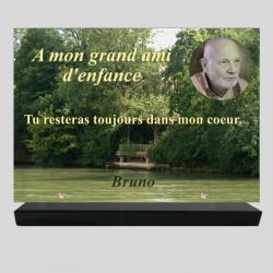Plaque funéraire Rectangle personnalisée - Lac dans un bois - sur socle en granit