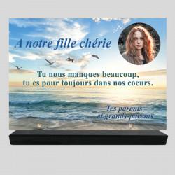 Plaque funéraire Rectangle personnalisée  - Paysage de mouettes sur mer - sur socle en granit