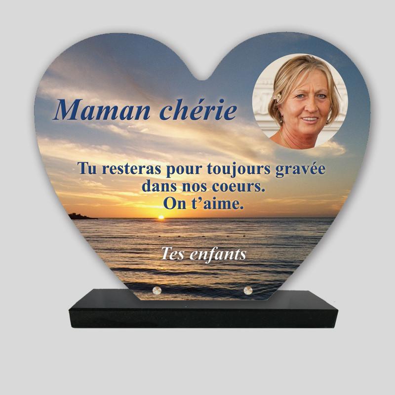 Plaque funéraire Cœur personnalisée  - Lever de soleil sur la mer - sur socle en granit
