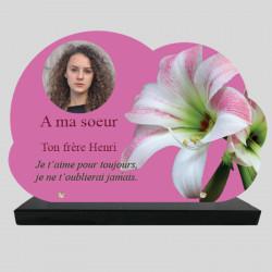 Plaque Funéraire Nuage personnalisée - Fleur d'Amaryllis - sur socle en granit