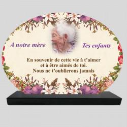 Plaque Funéraire Ovale personnalisée - Fleurs dessinées - sur socle en granit