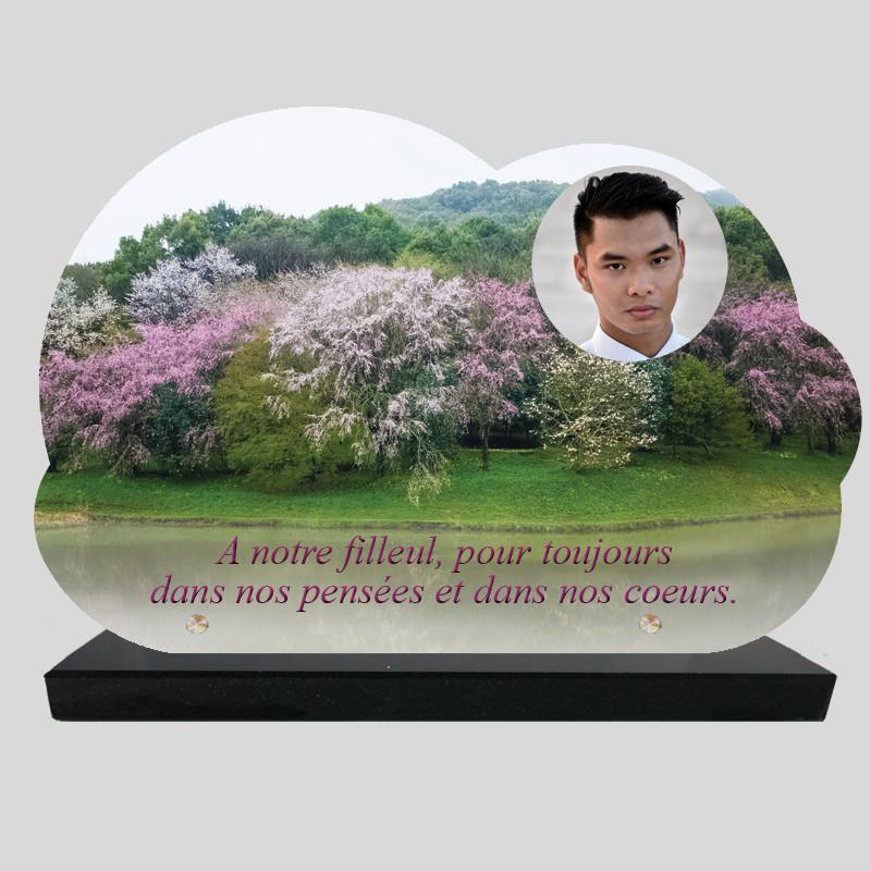 Plaque Funéraire Nuage personnalisée - Cerisiers Japonais - sur socle en granit