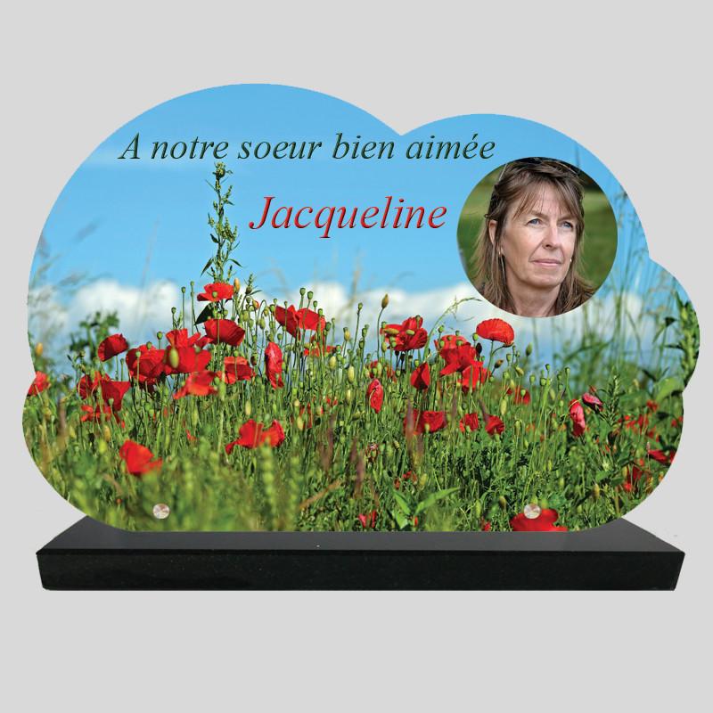 Plaque Funéraire Nuage personnalisée - Champs de Coquelicots - sur socle en granit