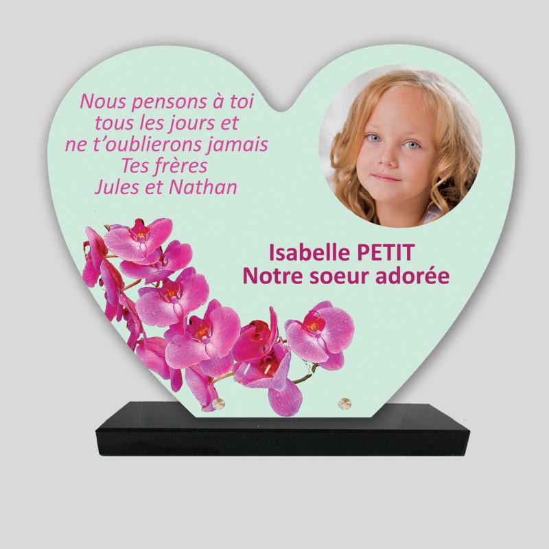 Plaque funéraire Cœur personnalisée - Décor orchidées - sur socle en granit