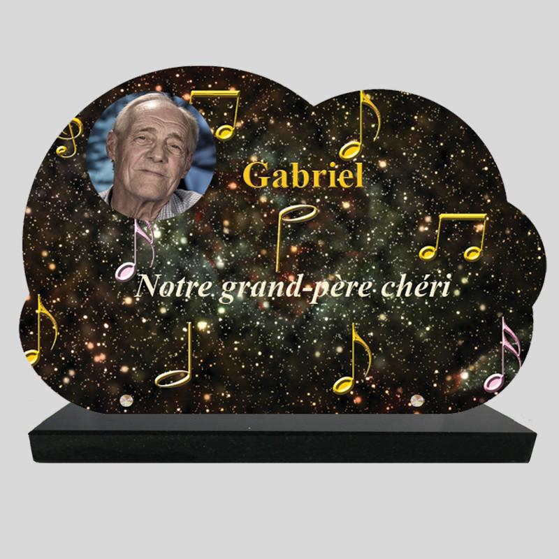 Plaque Funéraire Nuage personnalisée - Galaxie avec notes de musiques - sur socle en granit