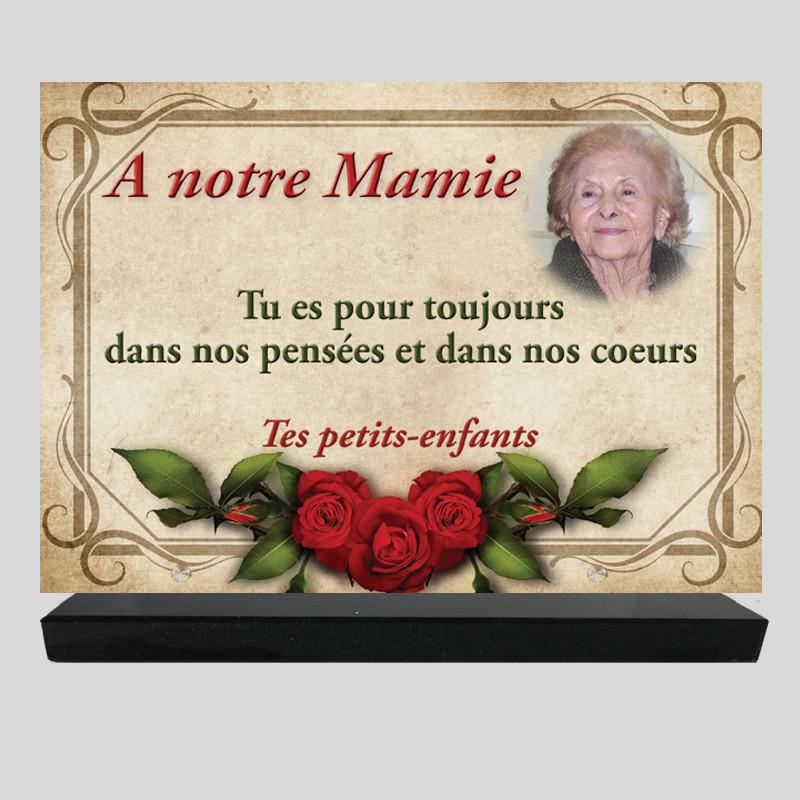 Plaque funéraire Rectangle personnalisée- Décor de roses rouges sur cadre - sur socle en granit