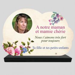 Plaque Funéraire Nuage personnalisée - Roses dessinées - sur socle en granit