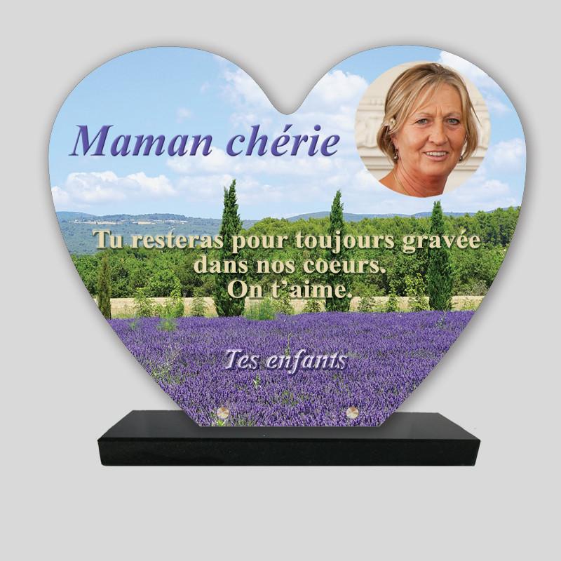 Plaque funéraire Cœur personnalisée - Champ de lavandes - sur socle en granit