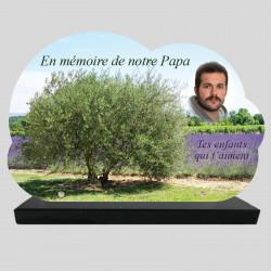 Plaque Funéraire personnalisée Nuage - Grand Olivier devant Champ de lavande - sur socle en granit