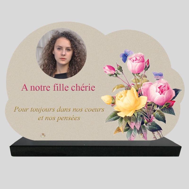 Plaque Funéraire personnalisée Nuage - Dessin de bouquet de Pivoines - sur socle en granit