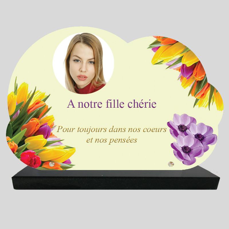 Plaque Funéraire personnalisée Nuage - Bouquets de Tulipe et anémones - sur socle en granit
