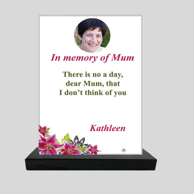 Plaque funéraire Rectangle personnalisée - Décor de fleurs d'hibiscus - sur socle en granit