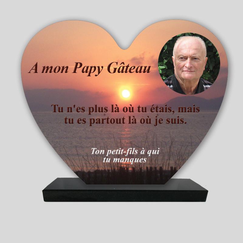 Plaque funéraire Cœur personnalisée - Coucher de soleil sur mer - sur socle en granit