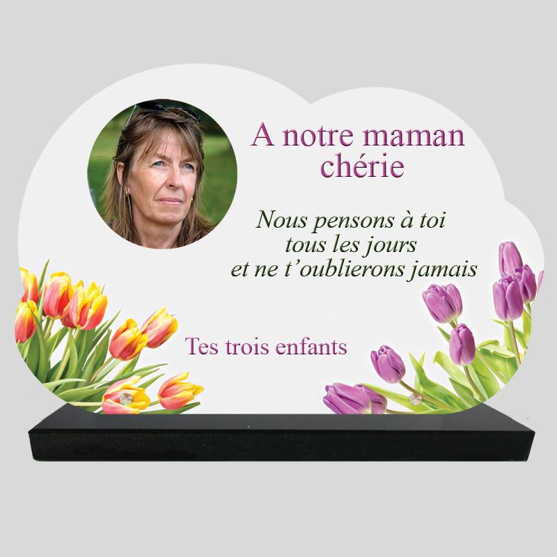 Plaque Funéraire Nuage personnalisée - Bouquets de tulipes - sur socle en granit