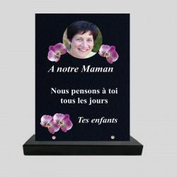 Plaque funéraire personnalisée Rectangle - Décor de fleurs d'orchidées - sur socle en granit