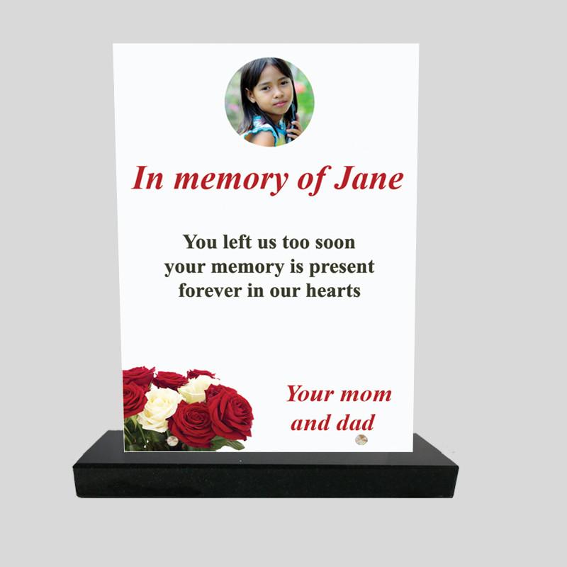 Plaque funéraire personnalisée Rectangle - Décor roses rouge et blanches - sur socle en granit