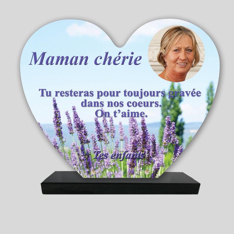 Plaque funéraire Cœur personnalisée - Décor lavandes - texte seul - sur socle en granit