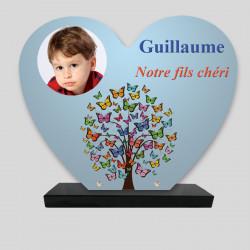 Plaque funéraire Cœur personnalisée - Arbre en Papillon - sur socle en granit