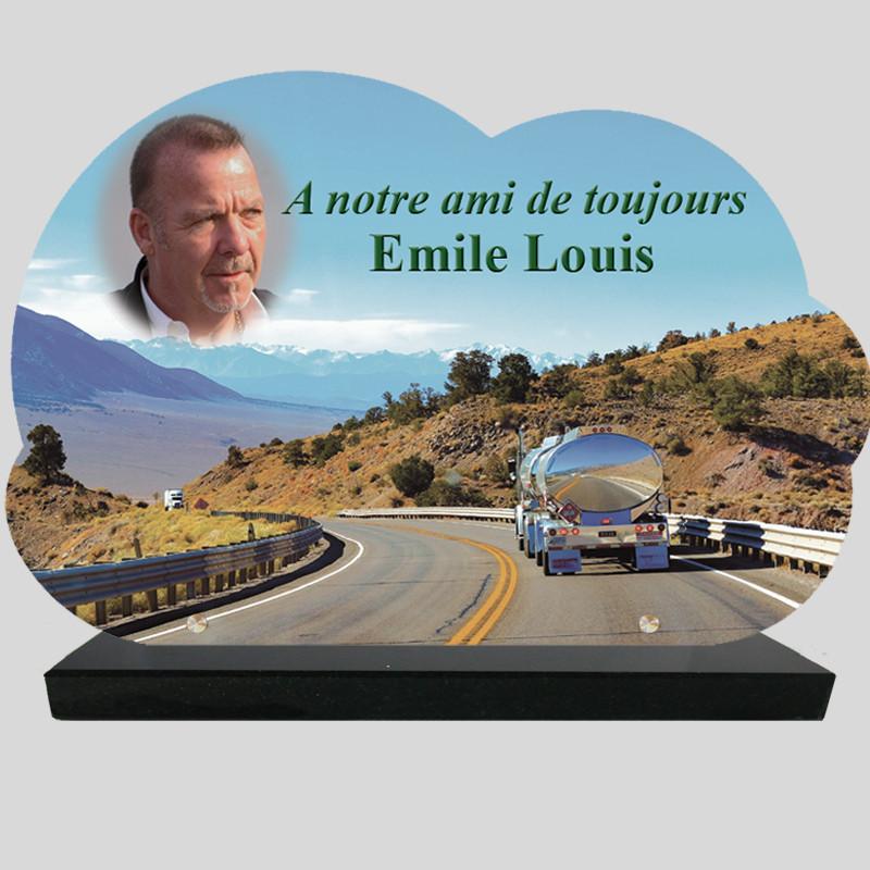 Plaque Funéraire Nuage personnalisée  - Camion sur la route - sur socle en granit