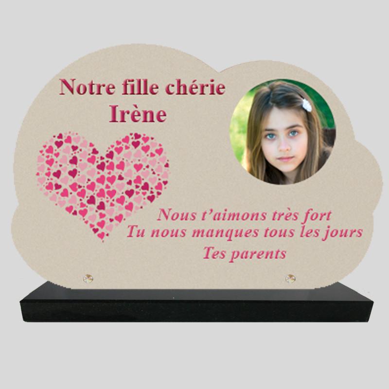 Plaque Funéraire Nuage personnalisée - Dessin de Cœur Rose - sur socle en granit