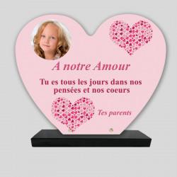 Plaque funéraire personnalisée Cœur - Petits cœurs en forme de cœurs roses - sur socle en granit