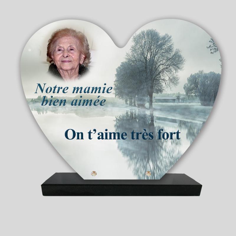 Plaque funéraire Cœur personnalisée - Arbre dans le brouillard - sur socle en granit