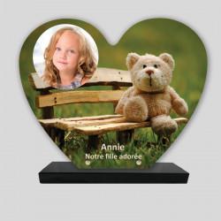 Plaque funéraire Cœur personnalisée - Ourson sur un banc - sur socle en granit