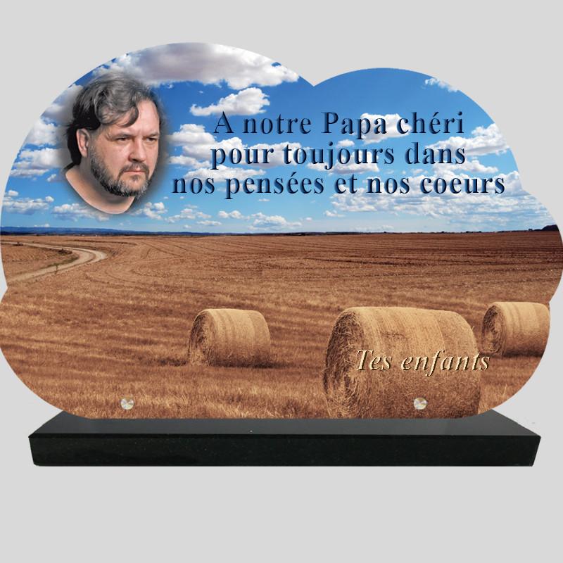 Plaque Funéraire personnalisée Nuage - Champs de blé - sur socle en granit