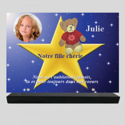 Plaque funéraire Rectangle personnalisée - Ourson sur Étoile - sur socle en granit