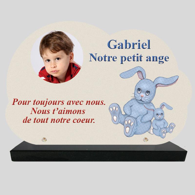Plaque Funéraire personnalisée Nuage  - Dessin de lapin bleu - sur socle en granit