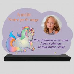 Plaque Funéraire personnalisée Nuage - Licorne Arc-en-Ciel - sur socle en granit