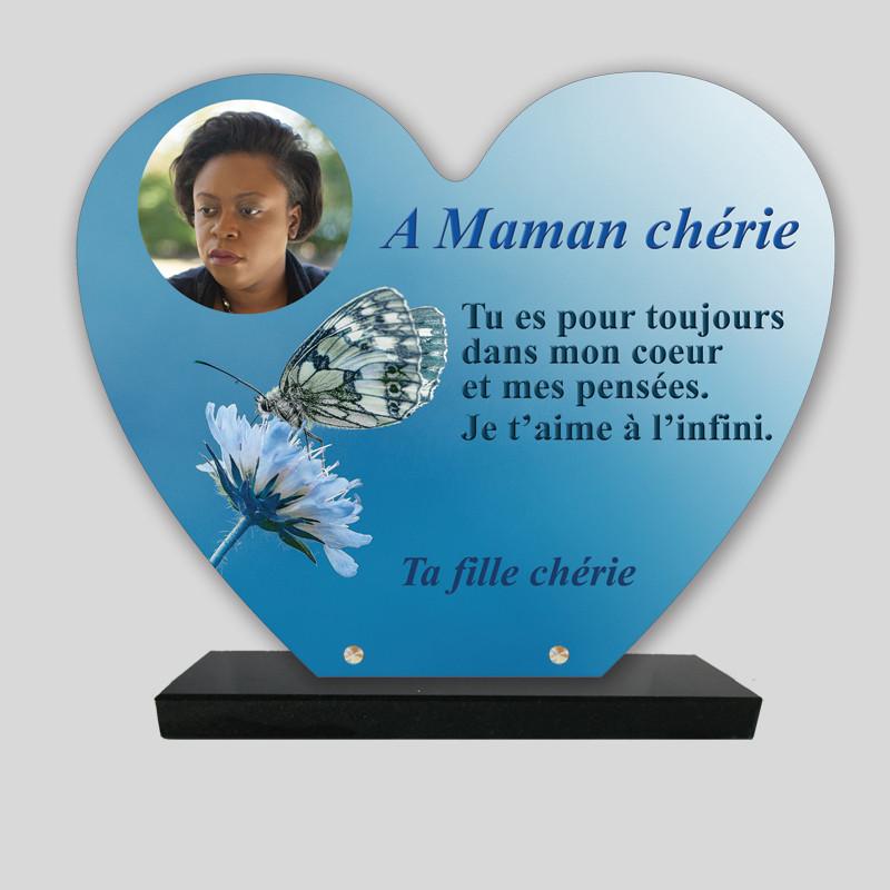 Plaque funéraire Cœur personnalisée - Papillon bleu - sur socle en granit