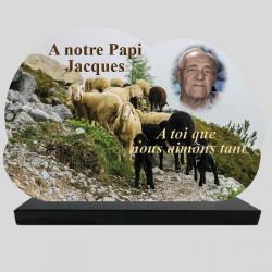 Plaque Funéraire personnalisée Nuage  - Troupeau de moutons - sur socle en granit
