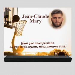 Plaque funéraire Rectangle personnalisée - Joueur de Basket - sur socle en granit