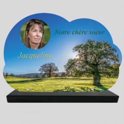 Plaque Funéraire personnalisée Nuage  - Champs d'oliviers en été - sur socle en granit