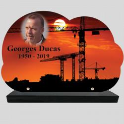 Plaque Funéraire personnalisée Nuage - Paysage travaux publiques - sur socle en granit